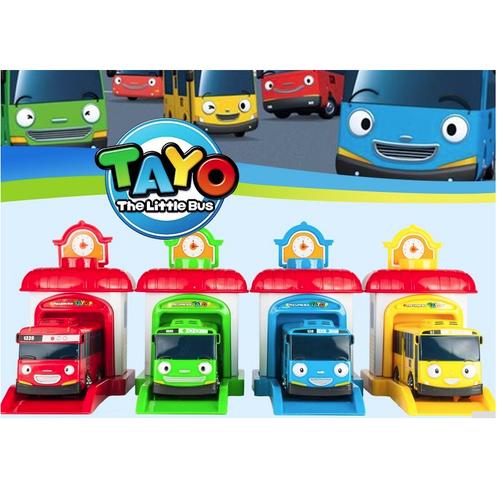 Tayo the little bus đồ chơi trẻ em xe ô tô buýt chạy cót gồm 1 nhà và 1 xe