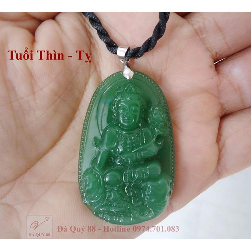 Mặt Dây Chuyền Phật Tuổi Thìn, Tỵ Đá Nhân Tạo Xanh