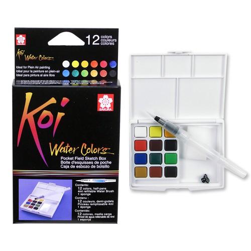 [Tặng 10 tờ giấy vẽ màu nước 300 gsm happy a6] - màu nước sakura koi dạng nén 12 màu - kèm bảng pha màu và cọ nước ngắn