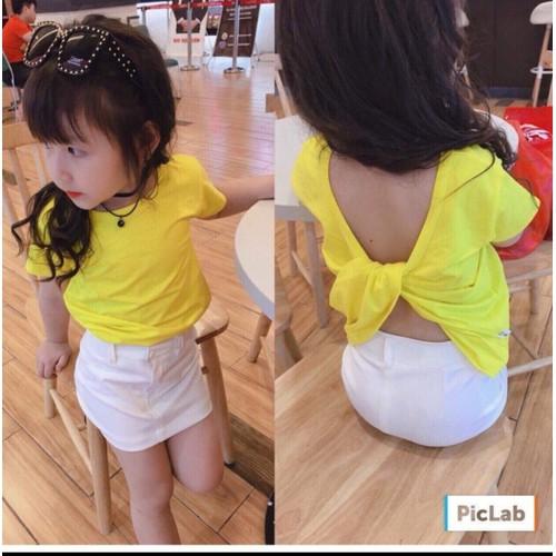 Áo thun bé gái hở lưng xoắn sành điệu 8_24kg
