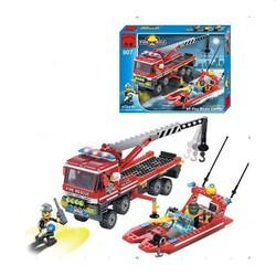 Lắp ráp mô hình xe tải và xuồng cao tốc cứu hỏa 420 khối