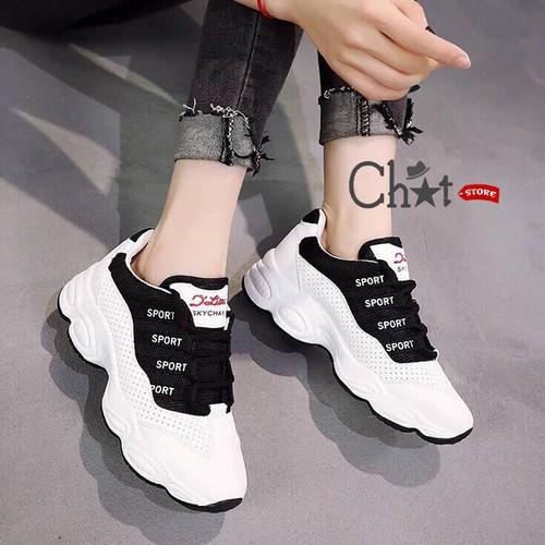 Giày Sneaker Nữ Thể Thao Đế Lượn