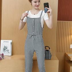 Hàng nhập-Set yếm quần caro và áo thun ngắn tay size M,L,XL