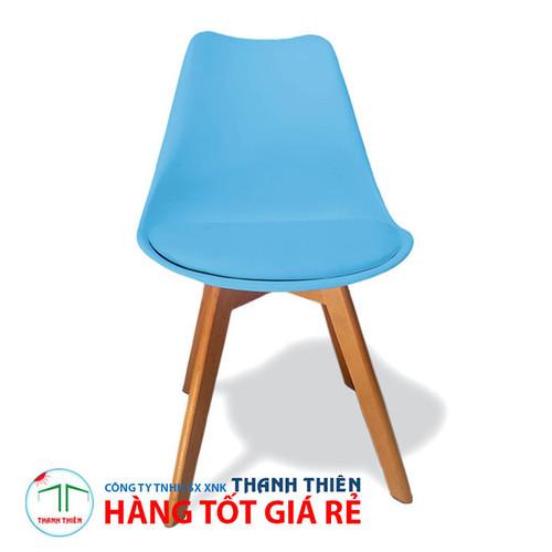 Ghế nội thất, ghế cafe, ghế EAMES chân gỗ có lót nệm GCP 033 - Xanh da