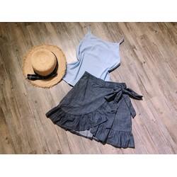 Set áo voan dây kèm quần váy bèo