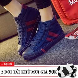 Giày thể thao nam cổ cao sọc đỏ+tặng 2 đôi tất khử mùi T1901XH