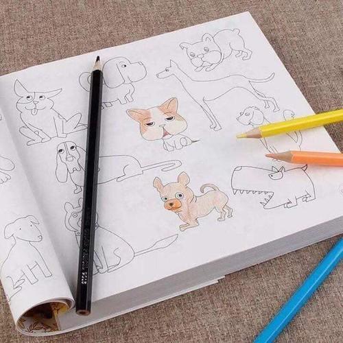 Tập in hình vẽ cho bé tập tô màu - quà tặng 12 bút màu