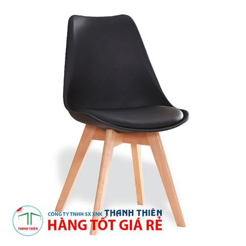 Ghế nội thất, ghế cafe, ghế EAMES chân gỗ có lót nệm GCP 033 - Đen