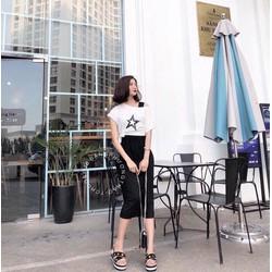 Set đầm suông dài phối áo croptop ngôi sao