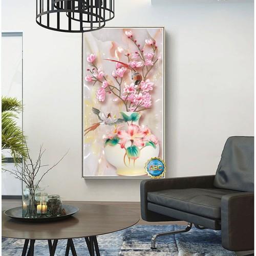 tranh đính đá bình hoa tuyệt đẹp 55x90cm