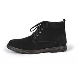Giày cao cổ Sanvado da lộn màu đen-2379-den