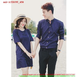 Set áo váy cặp tình nhân cổ trụ yêu thương ATD95