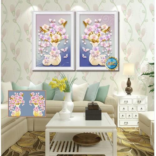 tranh đính đá bình hoa tuyệt đẹp 90x65cm