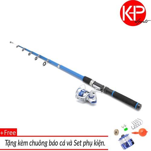 Bộ cần câu 2m1 KHP Blue New 100m dây và chuông báo cá