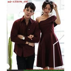 Set áo váy cặp tình nhân bèo lệch vai sành điệu ATD96