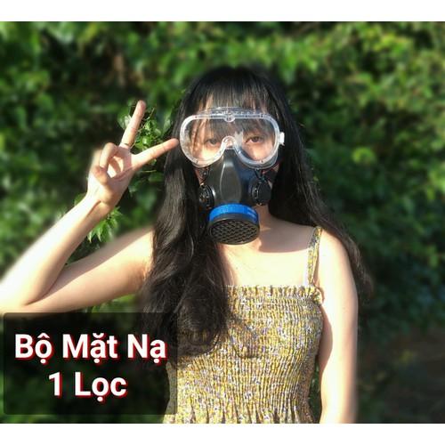 Việt nam - mặt nạ  chống độc 1 phin lọc kèm kính để xịt thuốc - chống hóa chất - chống bụi - phun sơn