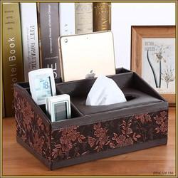 Hộp giấy bút để bàn, 4 ngăn, vân hoa cao cấp