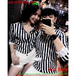 Sơ mi cặp đôi sọc trắng đen yêu thương SMD299