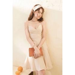 Đầm xòe kiểu hai dây cúp ngực đơn giản sang trọng