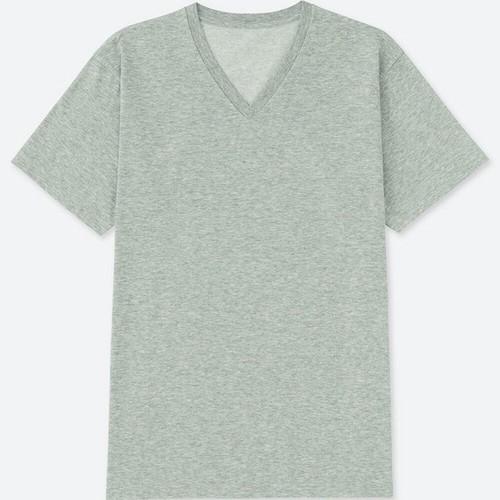 Áo phông trơn nam cộc tay cổ tim màu 03 Gray - hàng nhập Nhật