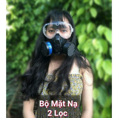 Việt nam - mặt nạ chống độc 2 lọc kèm kính để xịt thuốc - xịt sơn - chống hóa chất hàng việt nam