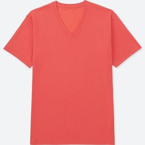 Áo phông trơn nam cộc tay cổ tim màu 23 Orange - hàng nhập Nhật