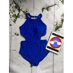 Bikini 1 mảnh xanh coban khoét hông