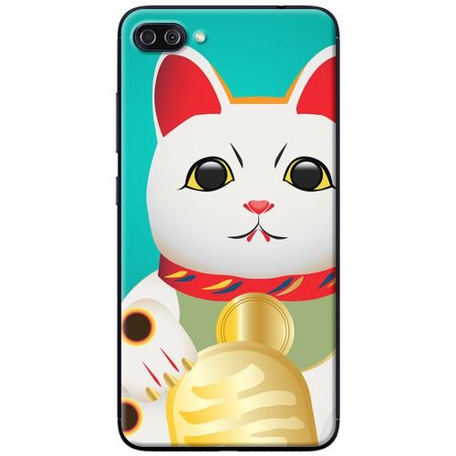 Ốp lưng nhựa dẻo Asus Zenfone 4 Max Pro ZC554KL Mèo thần tài xanh