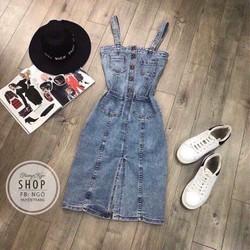 Đầm jean túi nút