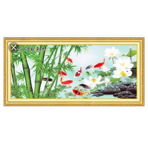 tranh đính đá cá chép hoa sen trắng 177x80cm - 4341194 , 10545271 , 15_10545271 , 610000 , tranh-dinh-da-ca-chep-hoa-sen-trang-177x80cm-15_10545271 , sendo.vn , tranh đính đá cá chép hoa sen trắng 177x80cm