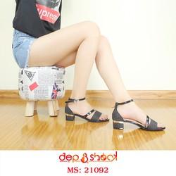 Giày Sandal Cao Gót Nữ Quai Ngang Phối Kim Tuyến Màu Đen Cao 5cm