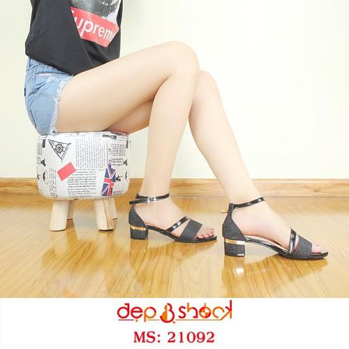Giày Sandal Nữ Quai Ngang Phối Kim Tuyến Màu Đen Cao 5cm