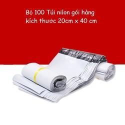 Túi gói hàng TRẮNG - Bộ 100 túi nhựa nilon 20 x 40cm - DONGDONG