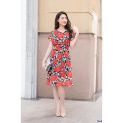 Đầm Xòe Cổ Tim Họa Tiết Hoa Đỏ Duyên Dáng
