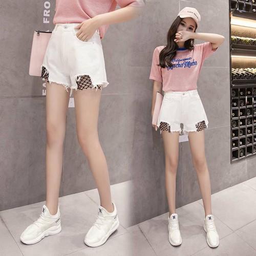 quần short jeans phối lưới Mã: QN850 - TRẮNG