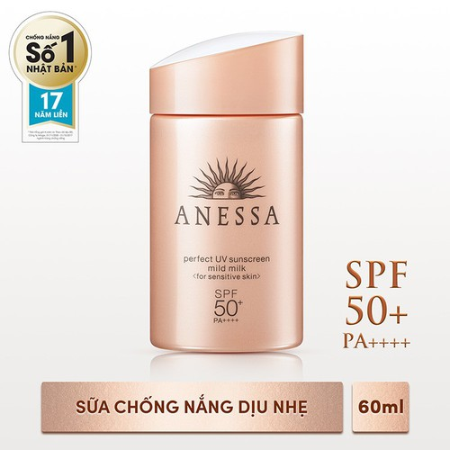 [Tặng ngay Sữa chống nắng bảo vệ hoàn hảo Anessa Perfect UV Sunscreen Skincare Milk 12ml] Sữa chống nắng dịu nhẹ cho da nhạy cảm Anessa Perfect UV 60ml