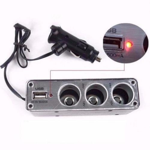 Bộ chia lổ mồi thuốc  ôtô ra 3 cổng và 1 cổng USB sạc