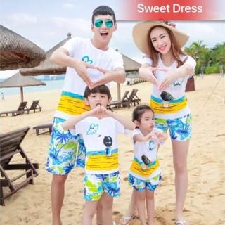 Combo 4 bộ đồ đi biển đẹp sang chảnh cho gia đình quần dừa - Combo4 quần dừa áo bãi cát v thumbnail