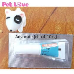 1 tuýp Advocate nhỏ gáy trị giun, ghẻ, ve rận, bọ chét chó từ 4 - 10kg