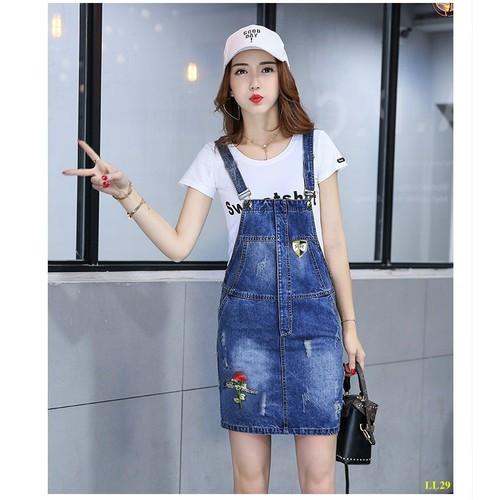Yếm Váy Jeans Thêu Hoa Dễ Thương Không Kèm Áo