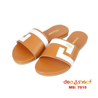Dép nữ quai ngang big size màu nâu thương hiệu DEP&SHOCK - 7015 NÂU BÒ thumbnail
