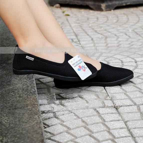 Giày lười  giày mọi  slip on nữ màu đen 1