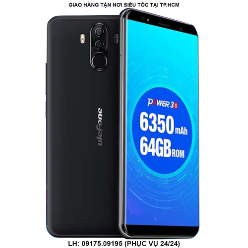 ULEFONE POWER 3S ĐEN - PIN 6350mAh 4 CAMERA MÀN HÌNH 6 INCH FULLVIEW