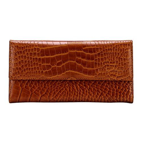 Bóp da nữ Huy Hoàng vân cá sấu nhỏ 3 gấp lửng màu da EH3148