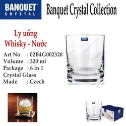 Bộ 6 ly thủy tinh pha lê cường lực uống whisky, Nước 320 ml Tiệp Khắc