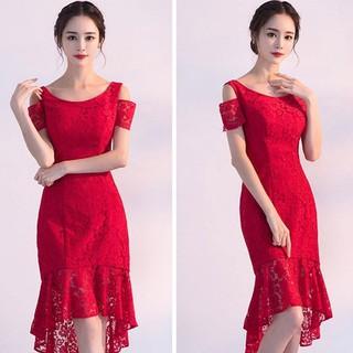Đầm Ren Đuôi Cá Đỏ Cổ Tròn Hở Vai Quyến Rũ - 621P thumbnail