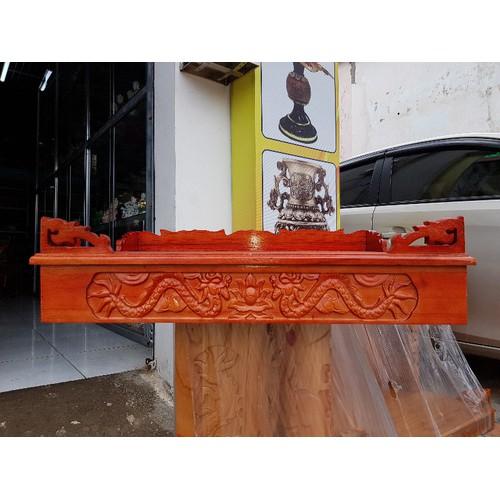 bàn thờ treo tường gỗ xoan trạm rồng ngang 68 cm