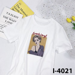 Áo Thun Tay Ngắn In Cô Gái Smoking 2019