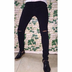 Quần jean nam rách gối đen trắng vải Thái bền đẹp dày dặn co giãn ôm chân thoải mái chống nhăn[HỖ TRỢ 20K PHÍ VẬN CHUYỂN] [ĐƯỢC XEM HÀNG]