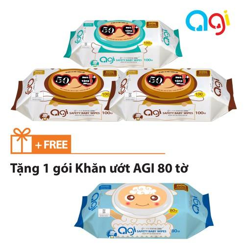 Mua 3 tặng 1 COMBO 3 Bịch KHĂN ƯỚT AGI 100 TỜ
